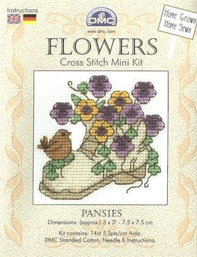 DMC Flowers - Pansies Mini Counted Cross Stitch Kit