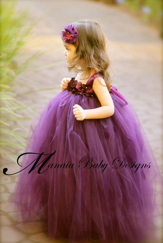 Flower Girl Tutu Dress / Eggplant Flower Girl Dress / Plum Flower ...