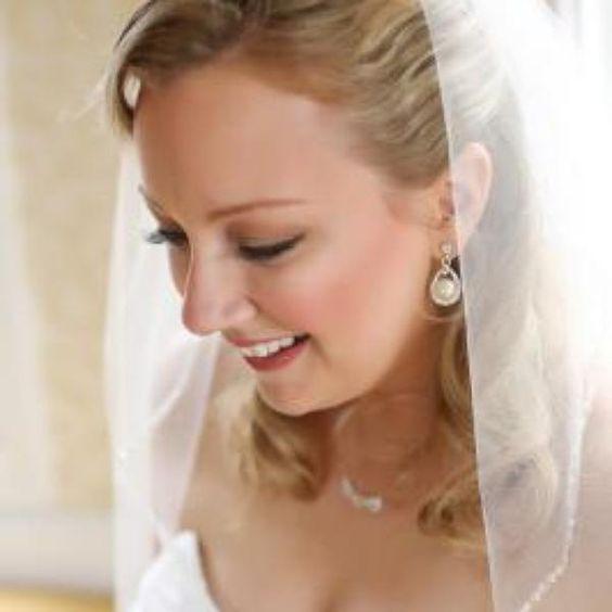 Crystal and Pearl Drop Earrings - Davids Bridal