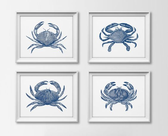 Navy nautical crab quad set of 4 art prints navy blue for Navy and white bathroom accessories