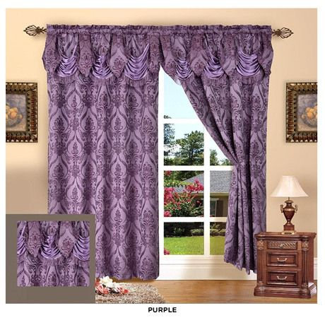 Penelopie Jacquard Curtain Panels with Attached Austrian Valance - Assorted colors at 69% Savings off Retail!