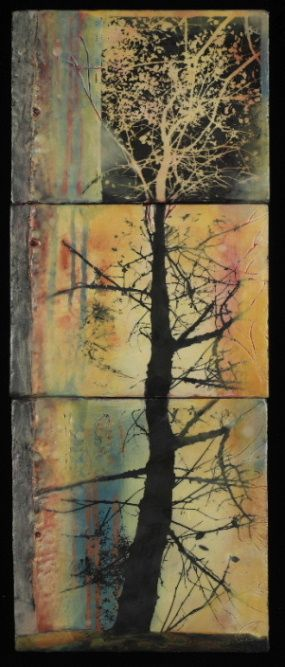 Andrea Bird - Tree Series: Yearning. Encaustic and photocopy on wood, 2007.