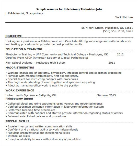 Sample Phlebotomy Resume Pleasing Phlebotomist Resume Sample Plus Downloadable Template  Stand Out .