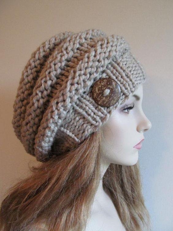Bulky Knit Hat Pattern : Bulky Slouch Beanie Beret Beehive Hat Drown, Slouch beanie and Beehive