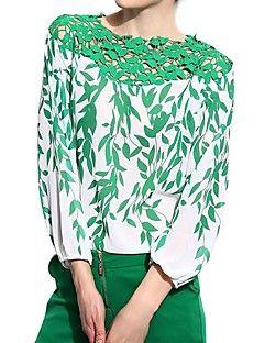 Mulheres Blusa Casual Simples Todas as Estações,Floral Verde Poliéster Manga Longa Fina