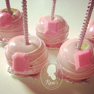 Pink candy apples: