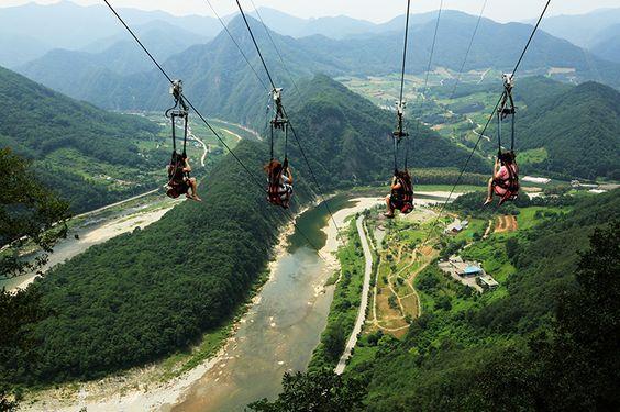 Khung cảnh ở Jeongseon, Gangwon-do khi nhìn từ trên cao