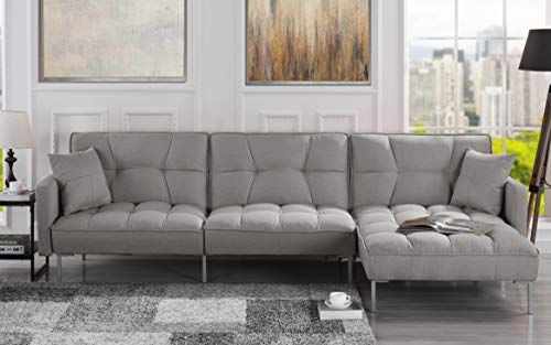 Casa Andrea Exp401 Fb Modern Linen Fabric Futon Sectional Sofa 110 6 W Inches Light Grey In 2020 Fabric Sectional Sofas Futon Sectional Futon Sofa