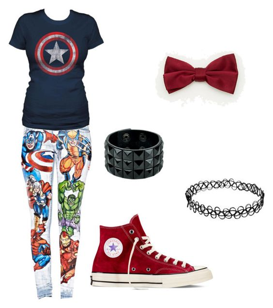 """Avengers "" by katelyn-dowdy ❤ liked on Polyvore featuring beauty, Converse and Le Chateau"