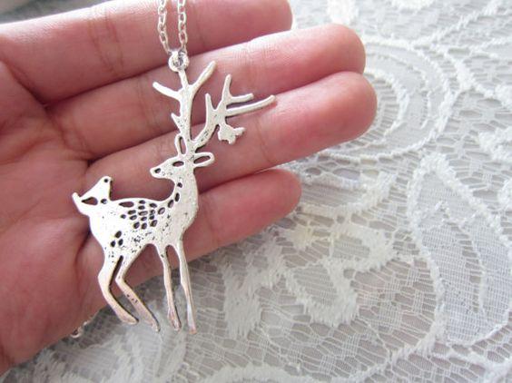 Elk and Birdie Sterling Silver Necklace