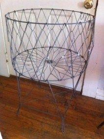 Vintage Antique ALLIED Folding Wire Laundry Clothes Basket Hamper