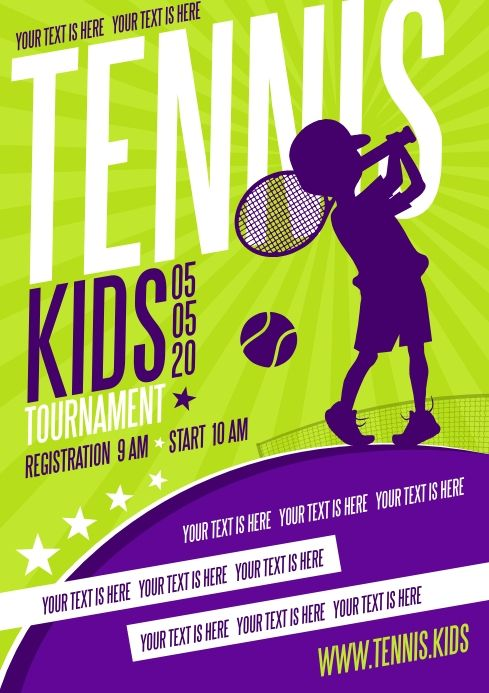 Kids Tennis Poster In 2020 Tennis Posters Poster Template Kids Tennis