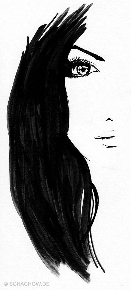 Tusche-Zeichnung einer Frau. Hör gibt es mehr.
