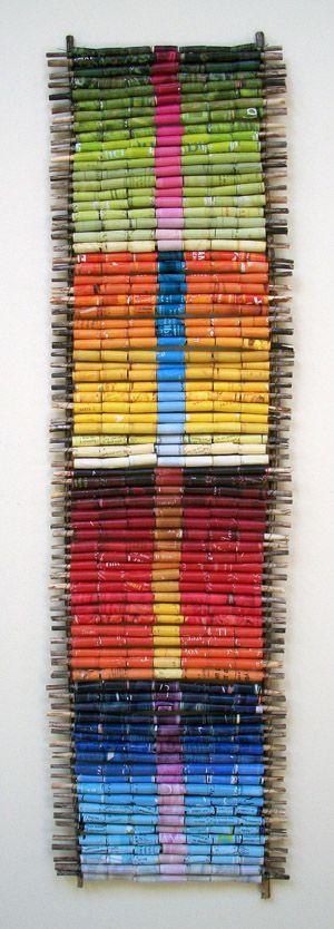 paper & twigs weaving; Lisa Kretchman: