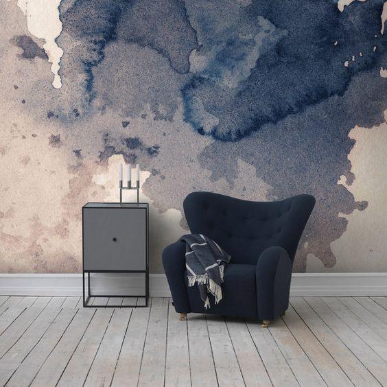 Ink splatter navy wall mural | Self adhesive removable wallpaper | Splash wall…