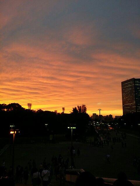 大阪城の夕焼け