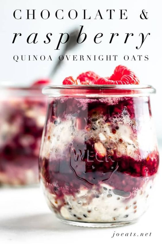 Chocolate Raspberry Quinoa Overnight Oats is a decadent and healthy breakfast that you can have ready to go for a grab and go meal! #joeats #breakfast #healthy #mealprep #easyrecipe #vegetarian #glutenfree via @joeatsnet