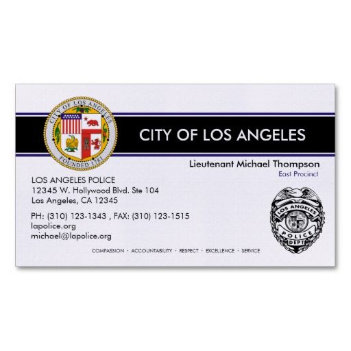 Lapd police officer business cards funny quotfakequot lapd for Police business card