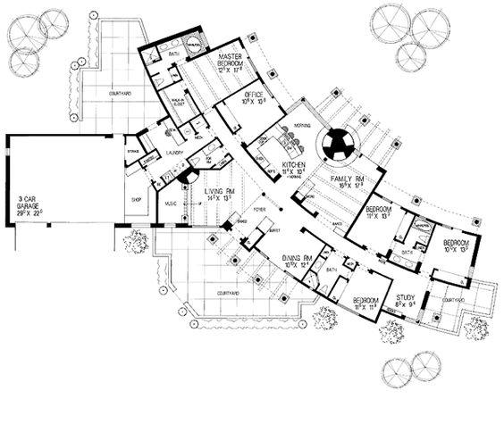 Santa fe southwest house plan 99272 house plans santa for Southwest floor plans