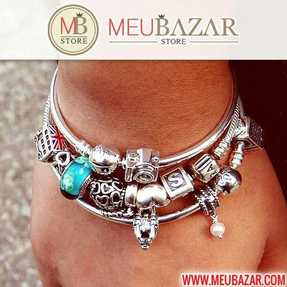 Lindo bracelete Pandora para você se inspirar! http://meubazar.com