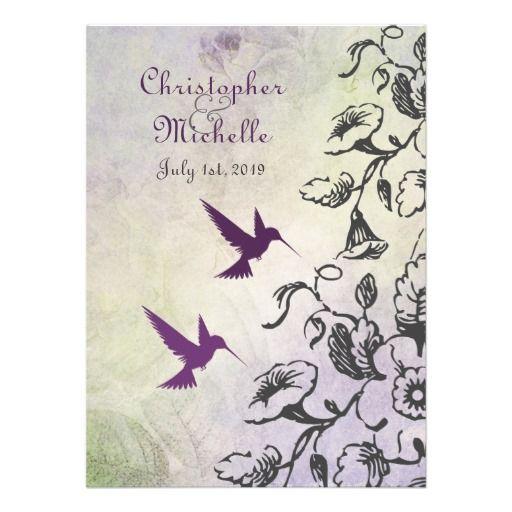 Hummingbirds and Flowers Wedding Invitation
