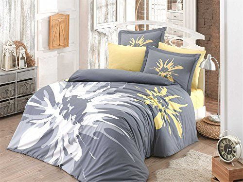 Dose Of Modern Romana Grey Poplin Double Quilt Cover Set 113hby2680 White Yellow Grey Duvet Cover Sets Duvet Covers Cotton Bedding Sets