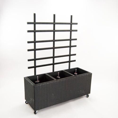 Woodinis Hochbeet mit Rankgitter auf 4 Rollen fahrbar schwarz 48x88x124 cm OVP