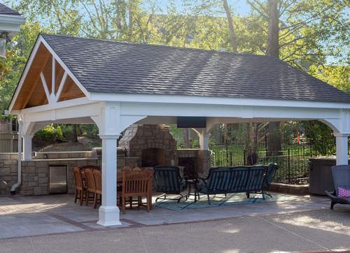 Premium Vinyl Pavilion Gabled Roof Outdoor Pergola Pergola Plans Pergola Designs