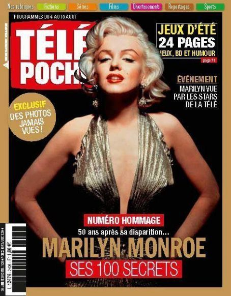 Tele Poche - July 30th 2012, magazine from France. Front cover photo of Marilyn Monroe by Gene Kornman, 1953.