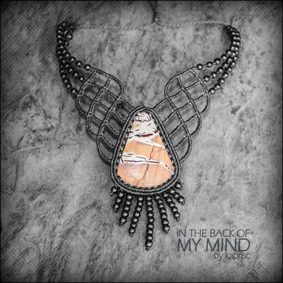 Elegante collar jaspe mexicano Macrame por kapriscrea en Etsy