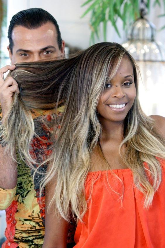Cabelo \u2013 Ombré Hair (loira, morena e negra)