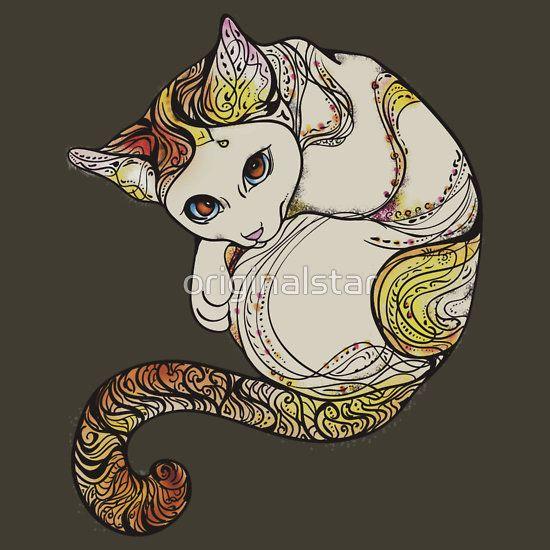 cat yoga mandala blume ornament tattoo niedlich cute fun zeichnung ...