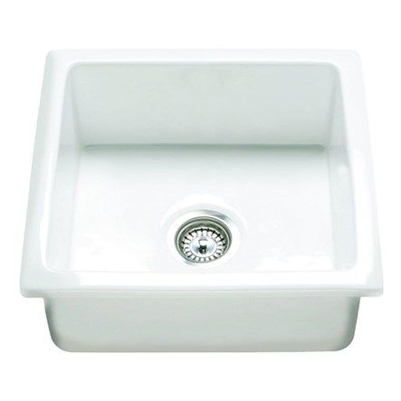 Rak 450 gourmet square surface or undermount white ceramic - Undermount ceramic kitchen sink ...
