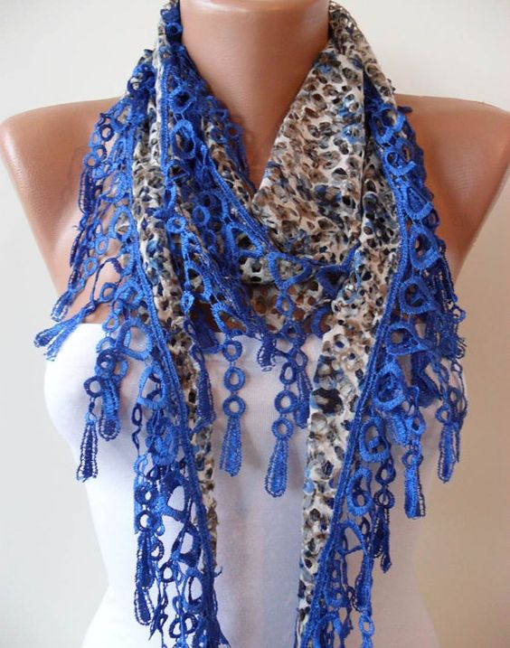 Perforated Fabric  Royal Blue Spring Scarf  with by SwedishShop, $15.90