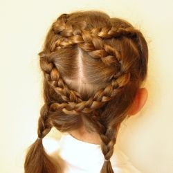 A fun criss-crossing hairdo that will work even for layered hair! (I would do minus the pigtails..)