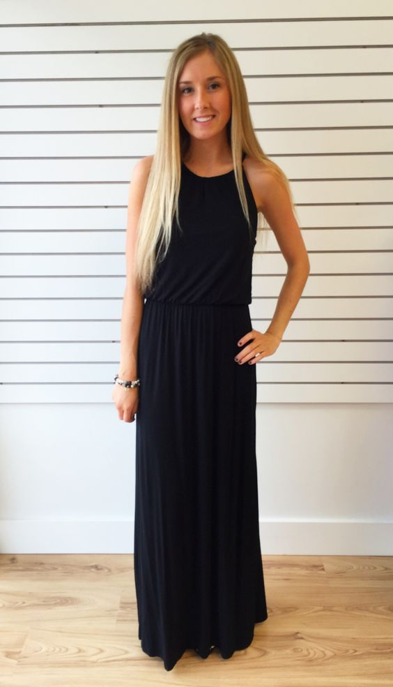 Lyla Lace Back Black Maxi