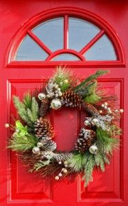 A holiday wreath on the front door sets a festive tone for guests who visit your home. Wreaths can be incorporated as centerpieces inside as well!