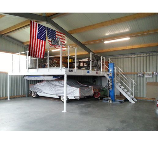 Tl 30 Mezzanine With L Long Straight Stairs Metal Shop Building Warehouse Living Garage Loft