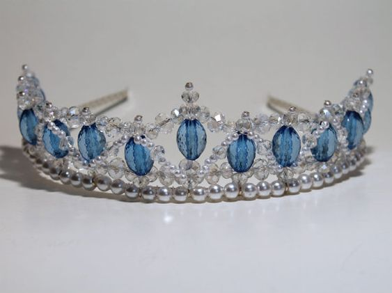 Lovely Blue Beaded Tiara with Crystals and Pearls:
