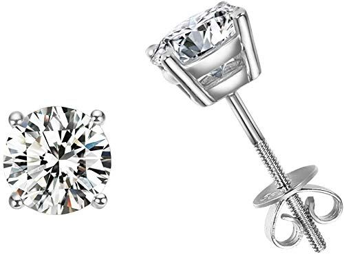 14K White Gold Plated Simulated Diamond Stud Screwback Earrings For Womens Girls Jewellery