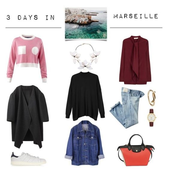 """3 days in... Marseille"" by kelly-m-o ❤ liked on Polyvore featuring Jacquemus, Monki, A Détacher, AG Adriano Goldschmied, Tory Burch, adidas Originals, Longchamp, Kate Spade, ootd and outfitoftheday"