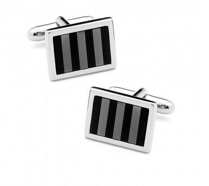 Cufflinks Inc Striped Mosaic Black Onyx and Hematite Cufflinks by Ox and Bull Black Label