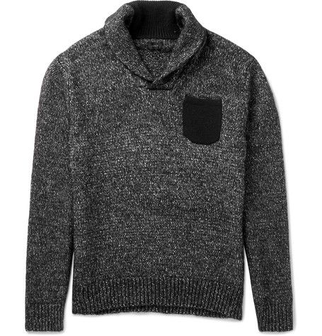 J.Crew - Shawl-Collar Suede Elbow Patch Cotton and Wool-Blend Sweater