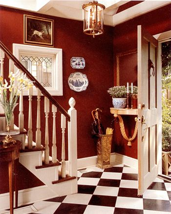 Entry Color Black White Red walls, black and white floor, umbrella stand and lantern