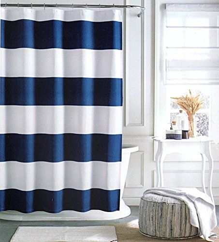 Tommy Hilfiger Cabana Stripe Shower Curtain - Navy Blue and White ...