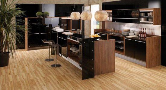 Modern Kitchen Design with Wood Finish