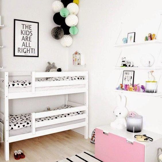 Una linda idea para una habitación compartida :) #habitacionesinfantiles #diseñodeespacios:
