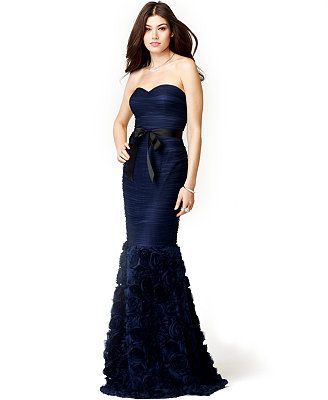 JS Collections Strapless Belted Mermaid Gown.. has roses on the ...