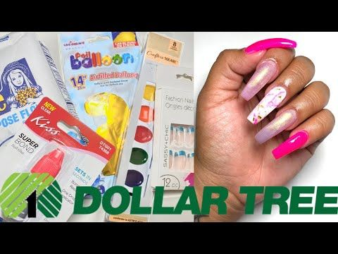 Dollar Tree Acrylic Nails At Home All Products Only 1 Not Clickbait I Used A Balloon And Paint Youtube Acrylic Nails At Home Nails At Home Acrylic Nails