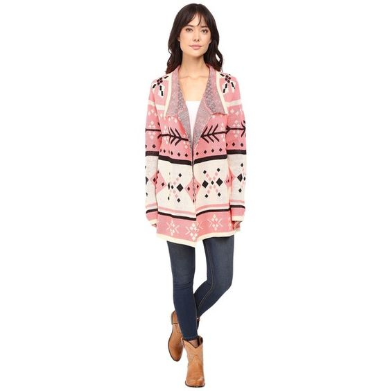 Rock and Roll Cowgirl Long Sleeve Cardigan 46-8460 (Pink) Women's... ($49) ❤ liked on Polyvore featuring tops, cardigans, print cardigan, collar cardigan, pink cardigan, geometric cardigan and long sleeve cardigan